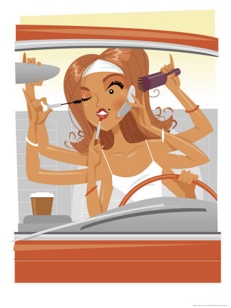 woman-driving-car-adjusting-mirror-applying-make-up-and-talking-on-cell-phone-with-multiple-arms-giclee-print-c12351517.jpeg