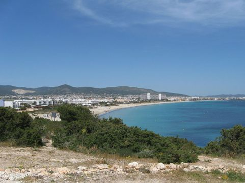 The Platja d'en Bossa looking north towards Ibiza Town